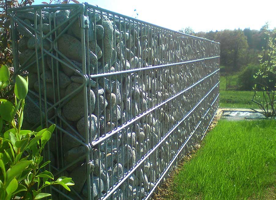 Réalisation d'une clôture en gabions 2